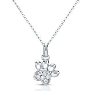 Auriya 14k White Gold Diamond Dog Paw Necklace (G-H, I1-I2)