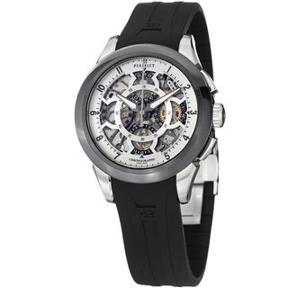Perrelet Men's A1056/1 'Chrono Skeleton' Silver Dial Black Rubber Strap Watch