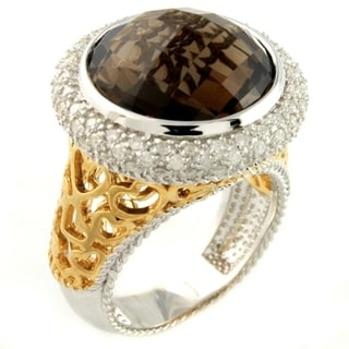 Beverly Hills Charm Silver Smoky Quartz and 1/2ct TDW Diamond Ring (H-I, I2-I3)