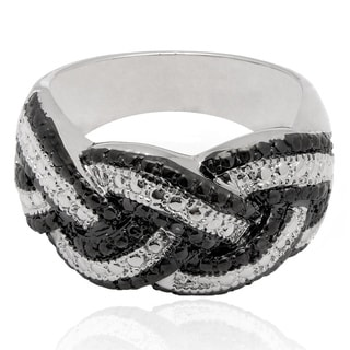 Pretty Plus Silverplated Black Diamond Accent Braided Ring