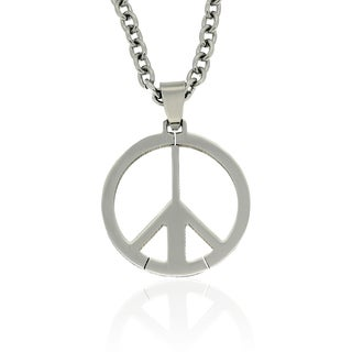 Gravity Stainless Steel Men's Peace Sign Necklace