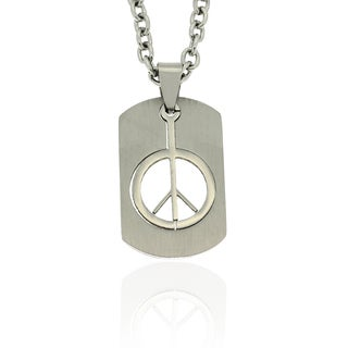 Dolce Giavonna Stainless Steel Cutout Peace Sign Dog Tag Necklace