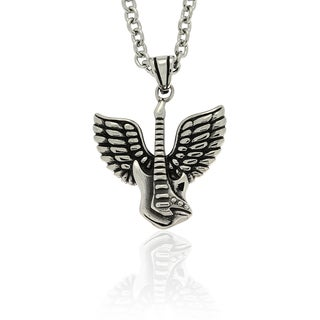 Gravity Stainless Steel 'Guitar Guardian Angel' Necklace