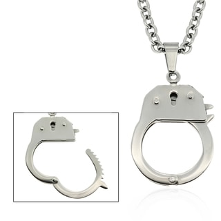 Dolce Giavonna Stainless Steel 'Handcuff' Necklace