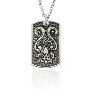 Dolce Giavonna Stainless Steel Fleur de Lis Dog Tag Necklace