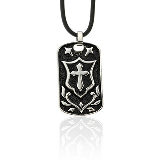 Dolce Giavonna Stainless Steel 'Knight's Cross' Dog Tag Necklace
