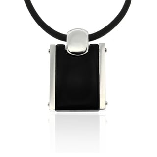 Gravity Stainless Steel Black Tag Necklace