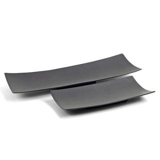 Black Aluminum Long Trays (Set of 2)