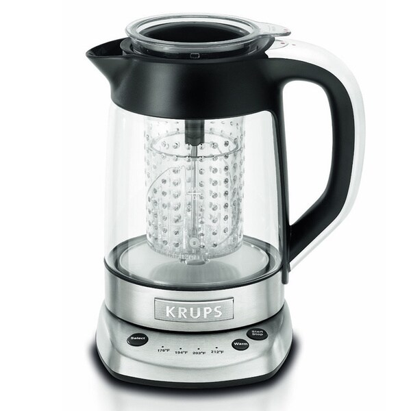 KRUPS FL700D51 Silver and Black Electric Kettle and Tea Infuser