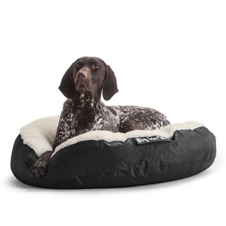 DogSack Big Joe Round Black Small / Med Microfiber and Sherpa Pet Bed