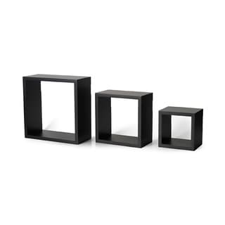 Melannco Black MDF Square Shelves (Set of 3)