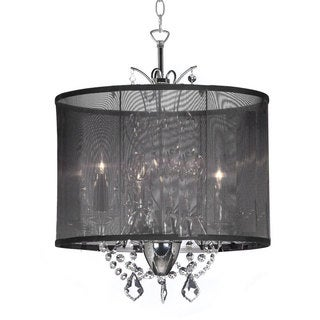 Designer 3-light Polished Chrome Crystal Mini Chandelier