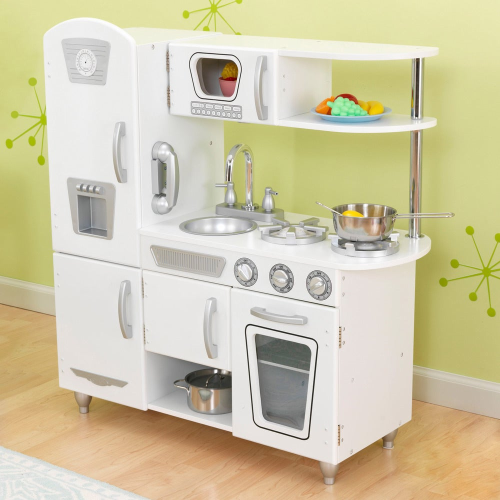 KidKraft White Vintage Uptown Retro Kitchen Playset For Kids Refrigerator Play