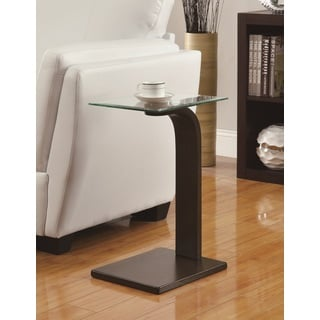 Espresso Glass Side End Snack Table