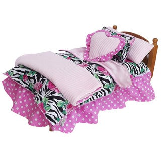 AnnLoren Zebra Rose & Polka Dot 7-piece Doll Bedding Set