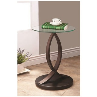 Cappuccino Glass End Accent Table