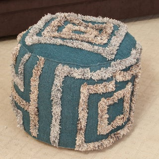 Christopher Knight Home Belize Teal Wool Pouf Ottoman