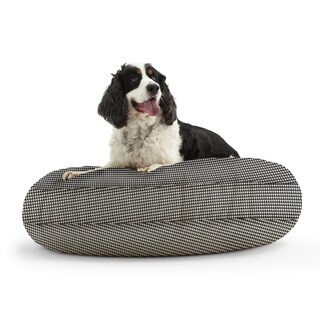 DogSack Round Memory Foam Black/ White Houndstooth Print Twill Pet Bed
