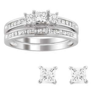 14k Gold 1ct TDW Princess Diamond Bridal Set with Bonus  Diamond Earrings (H-I, I1-I2)