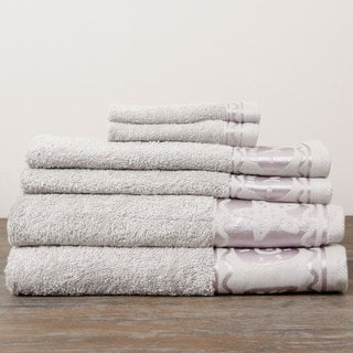 Jacquard Grey Fish Border Design 6-piece Terry Towel Set
