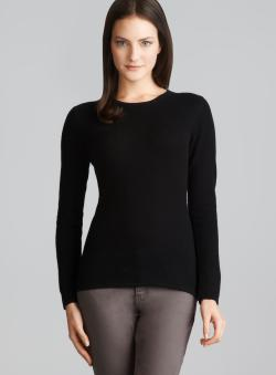 Evelyn Cashmere Black Long Sleeve Petite Cashmere Sweater