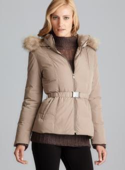 Gerard Darel Down Puff Belted Coat With Detachable Fur Trim Hood