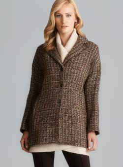 Sinequanone Brown Boucle Tweed Coat