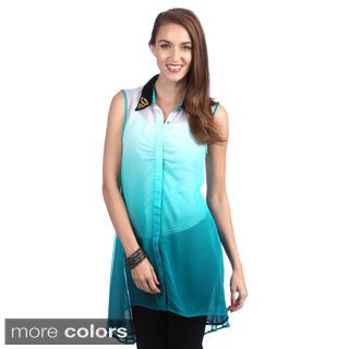 Lily Women's Ombre Sleeveless Button-up Blouse