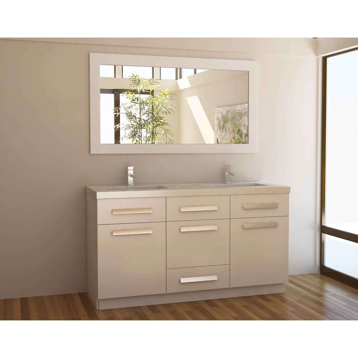 Moscony White 60-inch Double Sink Vanity Set at Sears.com