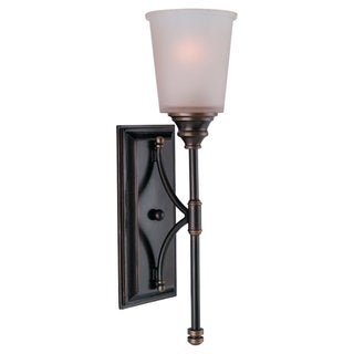 Warwick Vintage Bronze1-light Wall Sconce and Smoky Parchment Glass Shade