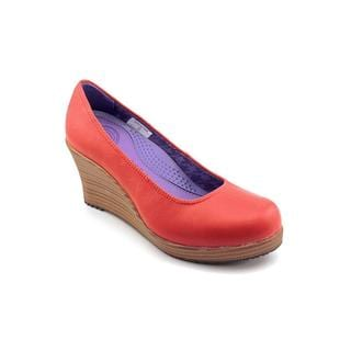 Crocs Women's 'A-Leigh Closed Toe Wedge' Red Leather Dress Shoes
