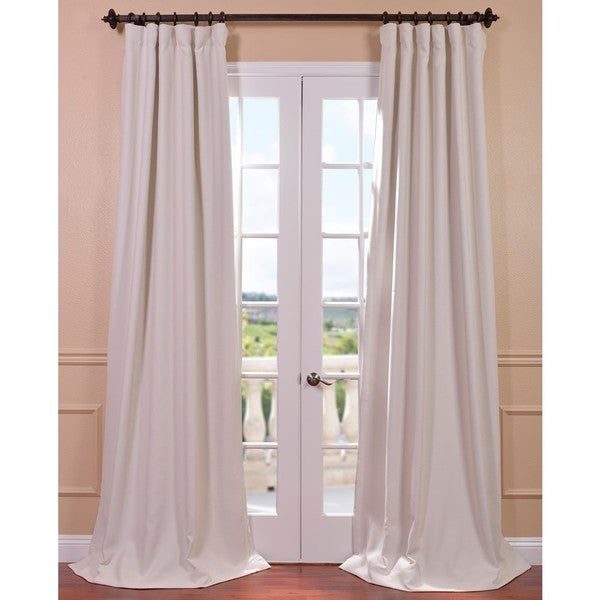 Exclusive Fabrics Cottage White Bellino Single Panel Blackout Curtain ...