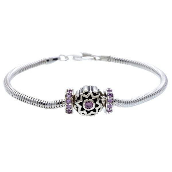 Sterling Silver Purple Cubic Zirconia Sunburst Bead Charm Bracelet