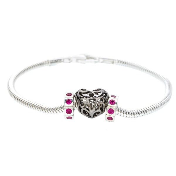 Sterling Silver Pink Cubic Zirconia Heart Bead Bracelet