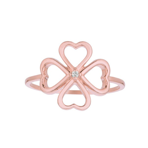 14k Rose Gold Diamond Accent Four-leaf Clover Ring