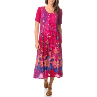 La Cera Women's Border Print Button Front Pleated Raspberry Dress