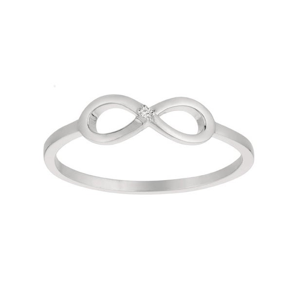14k White Gold Diamond Accent Infinity Symbol Ring