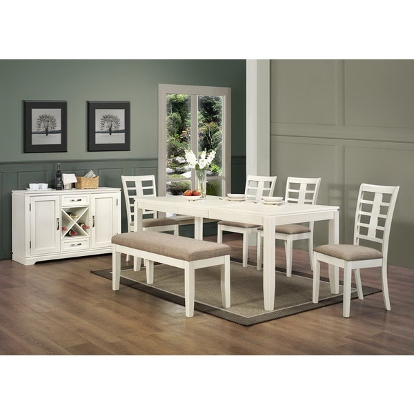 Pearl White 45-inch Beige Fabric Upholstered Bench