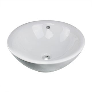 Highpoint Collection White 17-inch Round Ceramic Bathroom Vessel Sink