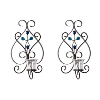 Elements Blue Gem 14-inch Scroll Tealight Sconces (Set of 2)