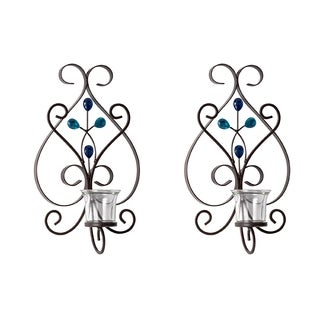 Elements Blue Gem 14-inch Scroll Tealight Sconces (Set of 2