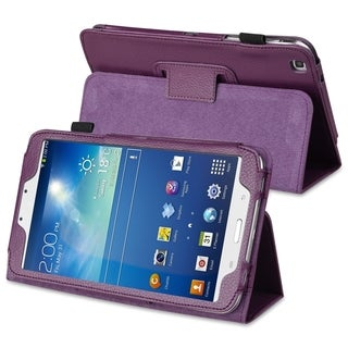BasAcc Purple Leather Case with Stand for Samsung� Galaxy Tab 3 8.0