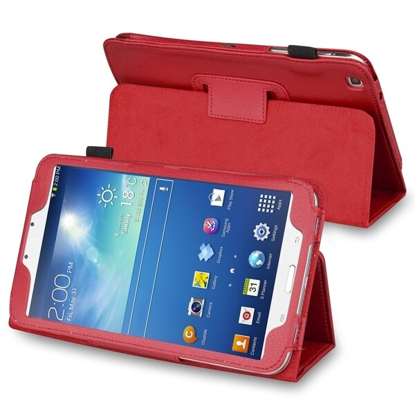 INSTEN Red Leather Tablet Case Cover with Stand for Samsung Galaxy Tab 3 8.0