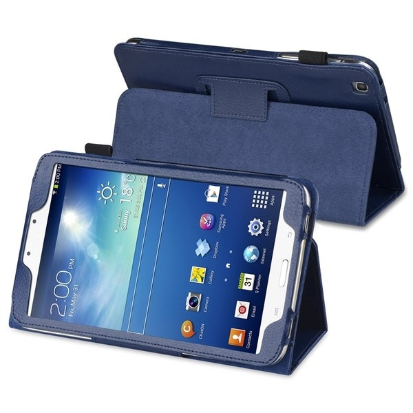 INSTEN Navy Blue Leather Tablet Case Cover with Stand for Samsung Galaxy Tab 3 8.0