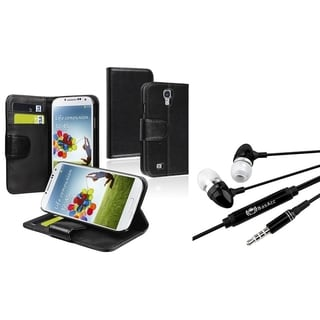 BasAcc Wallet Case/ Headset with Microphone for Samsung Galaxy S4