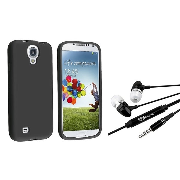 INSTEN Black Phone Case Cover/ Black Headset with Microphone for Samsung Galaxy S4
