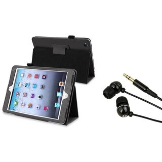 BasAcc Leather Case/ Black Headset for Apple iPad Mini 1/ 2 Retina Display