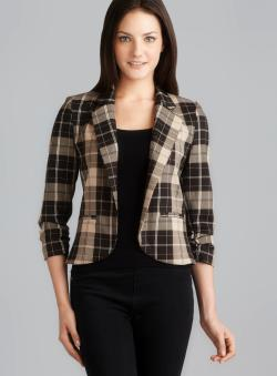 Love Ady Ruched Sleeve Notch Lapel Plaid Blazer
