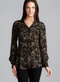 Philosophy Long Sleeve Mandarin Collar Camouflage Top