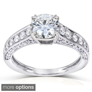 14k Gold Round-cut Moissanite and 1/2ct TDW Diamond Engagement Ring (G-H, I1-I2)